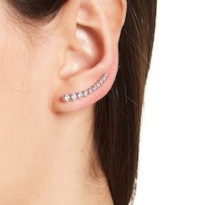 Bezeled Swarovski Crystal Accented Ear Climbers